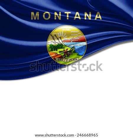 Montana flag and white background - stock photo