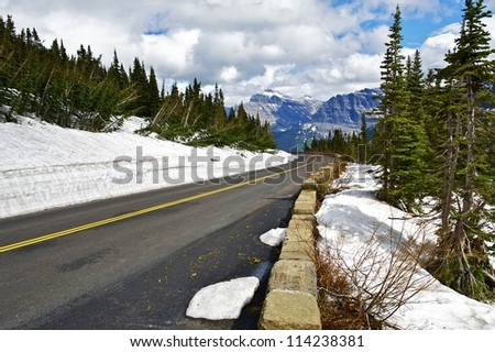 Montana Scenic Road  - Road To The Sun in Glacier National Park, Montana, U.S.A. Montana Photography Collection. - stock photo