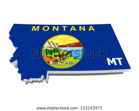 montana state flag on 3D map - stock photo