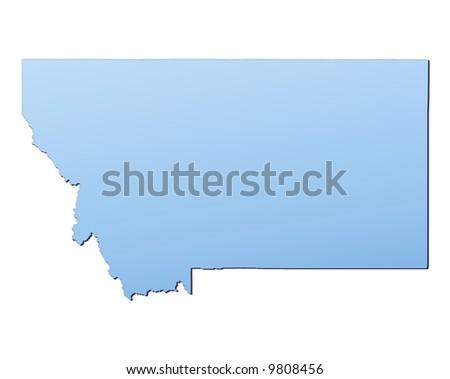 Montana Usa Light Blue Map Shadow Stock Illustration - Montana usa map