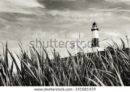 Montauk Lighthouse and sea grass. Black and white - stock photo