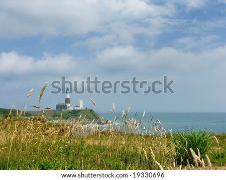 Montauk Point Lighthouse on cliff - stock photo