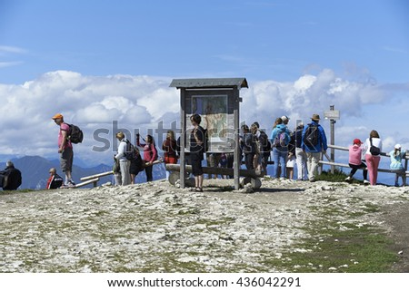 MONTE BALDO, ITALY, August 17  2014: Tourists walking on the top of hill  Monte Baldo, Italy