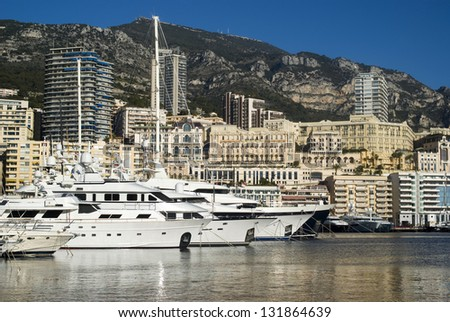 Monte Carlo and the Port Hercules - stock photo