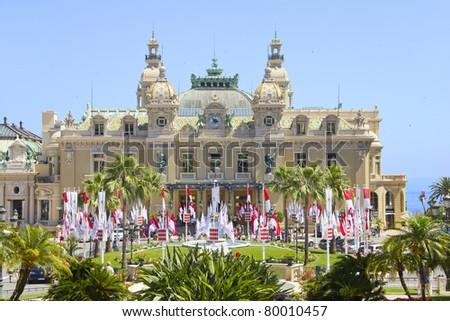 Monte Carlo decorated to the royal wedding, Monaco - stock photo