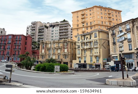 MONTE CARLO, MONACO - APRIL 28: Architecture of residential buildings on April 28, 2013 in Monte Carlo, Monaco. All residential buildings in Monaco is very expensive and fashionable.