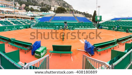 Monte Carlo, Monaco - 17 April, 2016: Clay tennis court prepared for the Monte-Carlo Rolex Masters finals. The tournament is played every year in the April-May period.