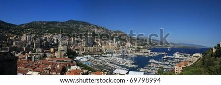 Monte Carlo Monaco Europe Panorama blue sky - stock photo
