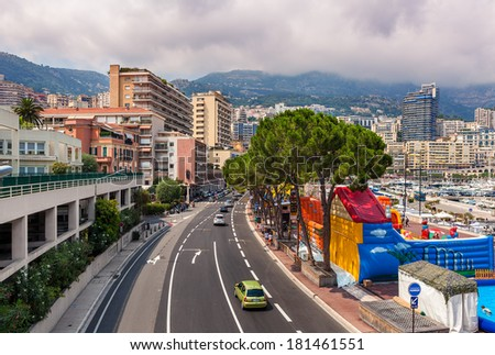 MONTE CARLO, MONACO - JULY 13, 2013: View from above of urban road which is also used for Monaco Grand Prix - most important and prestigious automobile races in the world held each year in Monaco.