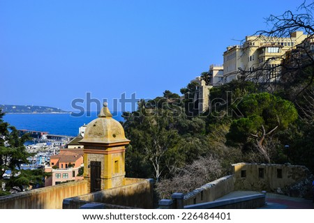 MONTE CARLO, MONACO - MARCH 12, 2014: Guard tower sits along the old fortress wall surrounding Monaco-Ville and the Palais Princier.