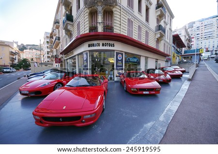 MONTE CARLO, MONACO - OCTOBER 2, 2011: Monaco Motors shop, the official Ferrari car dealer in Monaco. Photo taken in Monte Carlo on October 2, 2011.  - stock photo
