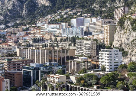 MONTE-CARLO, MONACO, on JANUARY 10, 2016. A view of houses on a mountain slope