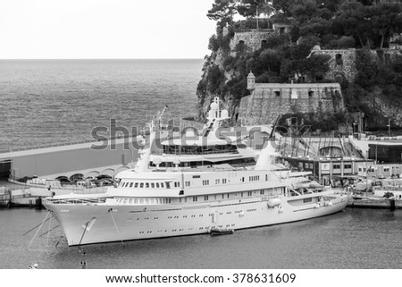 MONTE-CARLO, MONACO, on JANUARY 10, 2016. A view of the yacht at the mooring in a bay