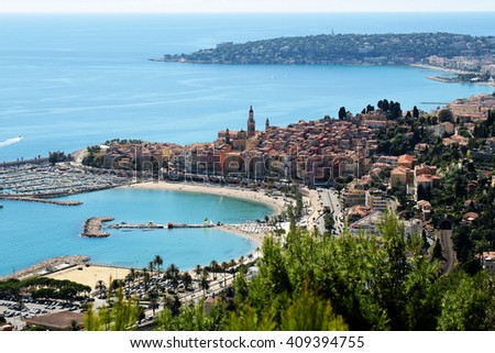 Monte Carlo, Monaco - September 21, 2015: city harbor beautiful panoramic view day time blue skyline on seascape background