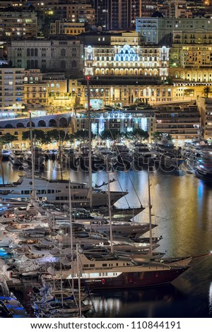 Monte Carlo port, Monaco  night scene - stock photo
