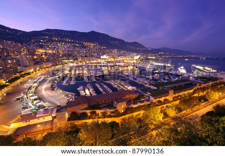 Monte Carlo port, Monaco. night scene - stock photo