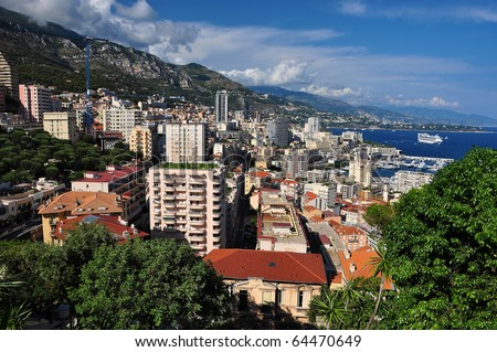 Monte Carlo seen from the Exotic Garden - stock photo