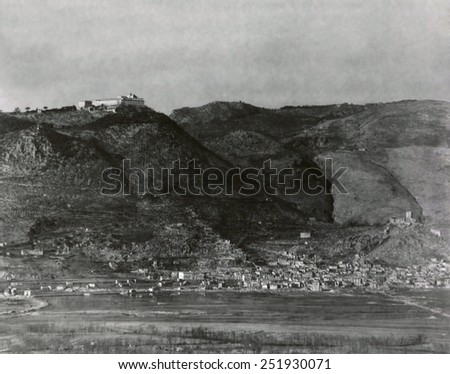 Monte Cassino, the site of the Monastery founded by St. Benedict in the 6th century. Feb. 6, 1944. German soldiers dug in below the Monastery and in Cassino Town below blocked the Allied advance. - stock photo