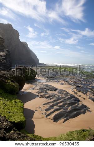 Monte Clerigo beach, Costa Vicentina, National park, PNSACV, Alentejana, Portugal - stock photo