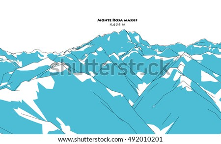 Monte Rosa massif, height relief, drawing
