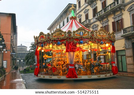 MONTECATINI-TERME, ITALY - JANUARY 8, 2016: Vintage carousel on the street in winter, Montecatini Terme, Italy