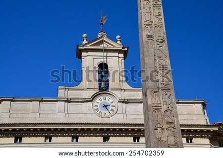 Montecitorio in the old town of Rome: Seat of the Representative chamber of the Italian parliament. - stock photo