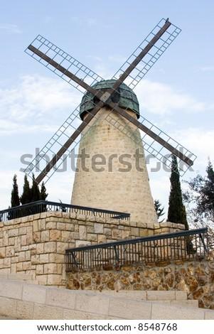 Montefiore's windmill. Yemin Moshe neighborhood, Jerusalem. - stock photo