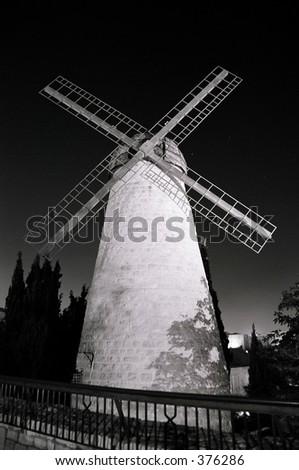 Montefiore Windmill at night - stock photo