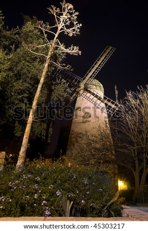 Montefiore Windmill at night, Jerusalem, Israel - stock photo
