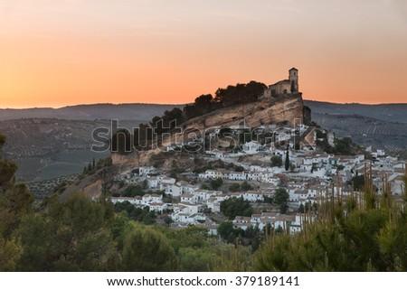 Montefrio at sunset, Province of Granada, Spain - stock photo