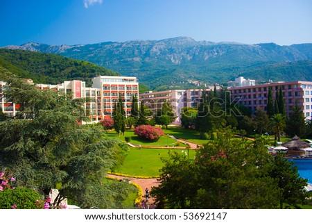 Montenegrian hotel view - stock photo