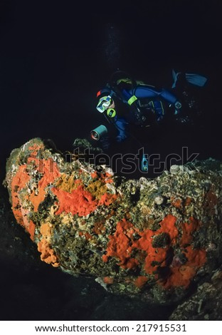 Montenegro, Adriatic Sea, U.W. photo, cave diving, diver and red sponges on a rock - FILM SCAN - stock photo