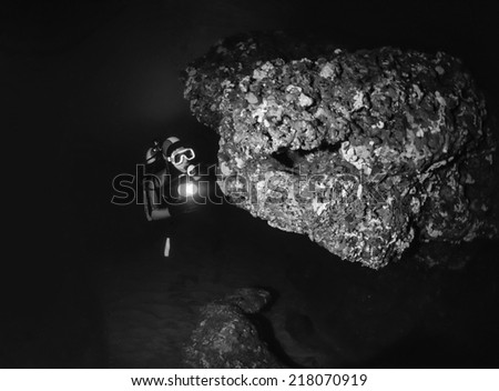Montenegro, Adriatic Sea, U.W. photo, cave diving - FILM SCAN - stock photo