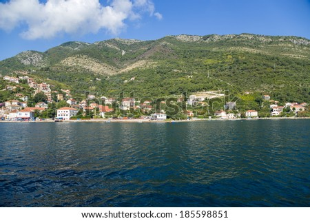Montenegro. City on the banks of the Bay of Kotor