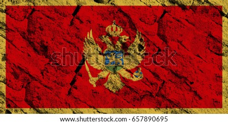 Montenegro flag grunge background. Background for design in country flag