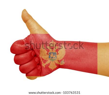 Montenegro flag on thumb up gesture like icon on white background - stock photo