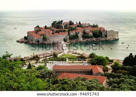 Montenegro Kotor Bay or 'Boka Kotorska' UNESCO World Heritage - historic village of Perast in late afternoon sunlight - stock photo