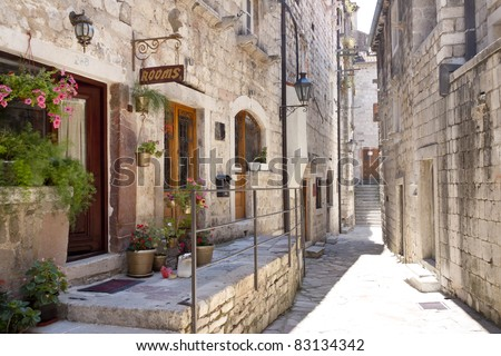 Montenegro, Kotor UNESCO town. Tight street.