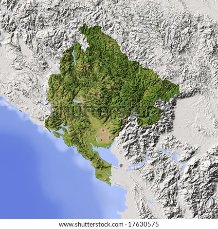 Montenegro. Shaded relief map with major urban areas. Surrounding territory greyed out. Colored according to vegetation. Includes clip path for the state area. Data source: NASA - stock photo