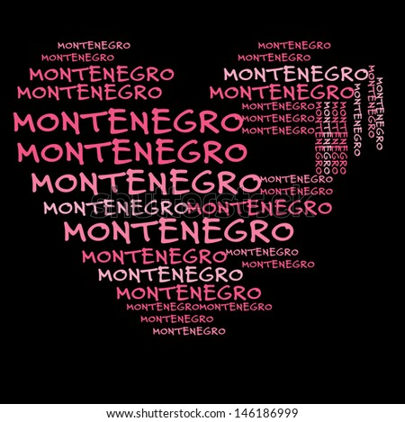 Montenegro word cloud in pink letters against black background