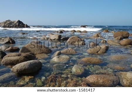 Monterey Bay Shoreline Rocks - stock photo