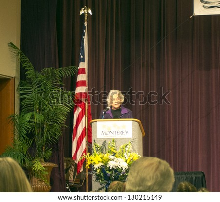 MONTEREY, CA - FEB 23: Retired Supreme Court Judge Sandra Day O'Connor delivers a speech to educators about civics at curriculum conference, at Conference Center, February 23, 2013 in Monterey CA. - stock photo