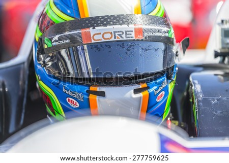 Monterey, CA - May 01, 2015:  The Tudor United SportsCar Championship teams take to the track for a practice session for the Grand Prix of Monterey at Mazda Raceway Laguna Seca in Monterey, CA. - stock photo
