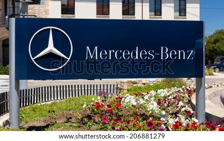 MONTEREY, CA/USA - JULY 23, 2014: Mercedes-Benz automobile dealership.  Mercedes is a German automobile manufacturer, a multinational division of the German manufacturer Daimler AG.