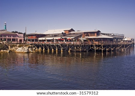 Monterey's Fisherman's Wharf - view from the East - stock photo
