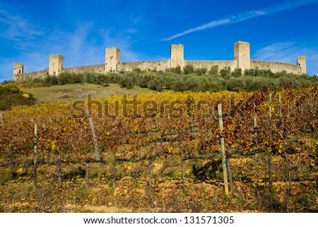 Monteriggioni city walls - Monteriggioni (SI), Italy - stock photo