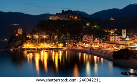 Monterosso al Mare at dusk. Monterosso al Mare is one of the five picturesque villages in Cinque Terre, La Spezia, Italy - stock photo