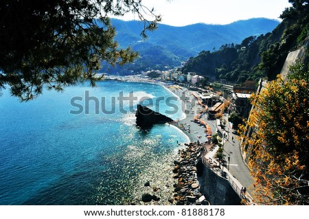 Monterosso al Mare Beach, Cinque Terre, Italy - stock photo