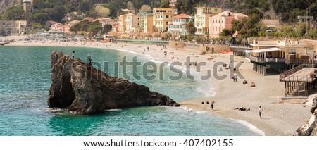 Monterosso al mare (Cinque Terre)  Aerial View Panorama of scenic Ligurian coast, beach, sea bay and rocks landscape. Five lands, 5 terre, Liguria, Northern Italy - stock photo