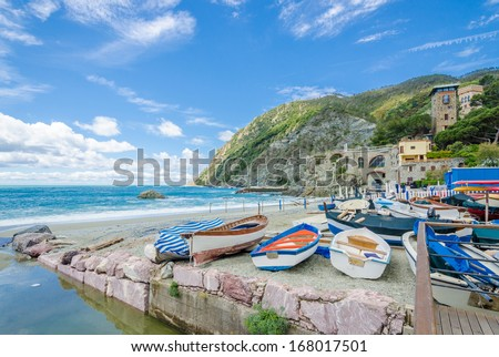 Monterosso in Cinque Terre, Italy, view at the ocean line from mountain trail - stock photo
